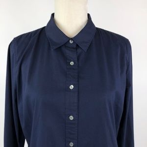 J. Crew Stretch Perfect Shirt in Navy Blue